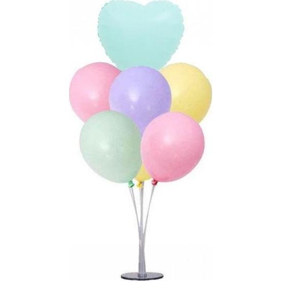 Kidspartim 7 'li Balon Stand Demeti Makaron Yeşil Kalpli Karışık Balon