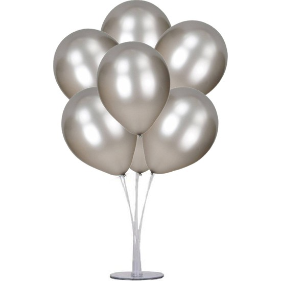 Kidspartim 7 'li Balon Stand Demeti Gümüş Balon