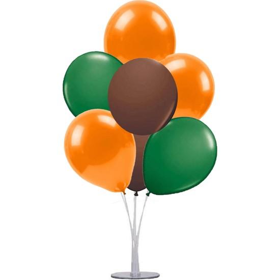 Kidspartim 7 'li Balon Demeti Turuncu Kahve Yeşil Balon