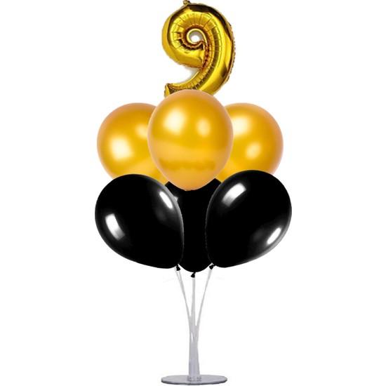 Kidspartim 7 'li Balon Demeti 9 Yaş Gold Siyah Balon