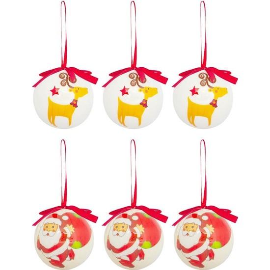 Kikajoy Yılbaşı Çam Ağacı Seti Noel Baba - Geyik 6 cm 12'li