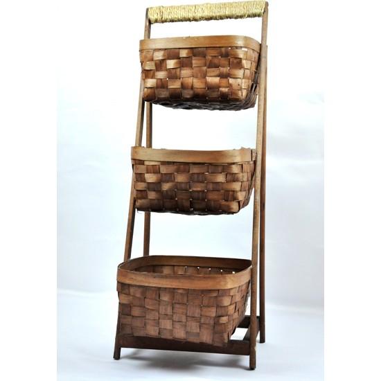 Marketonya 3 Katlı Merdiven Model Hasır Sepet