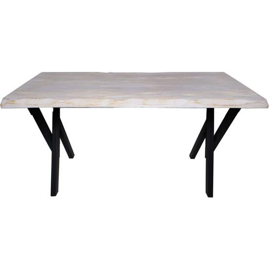 NtConcept Masif Ağaç Eskitme Beyaz Yemek Masası