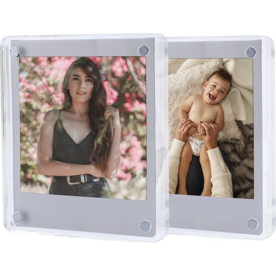 Fujifilm Instax Square Kare Film Uyumlu Mıknatıslı Pleksi Resim Çerçevesi 2'li