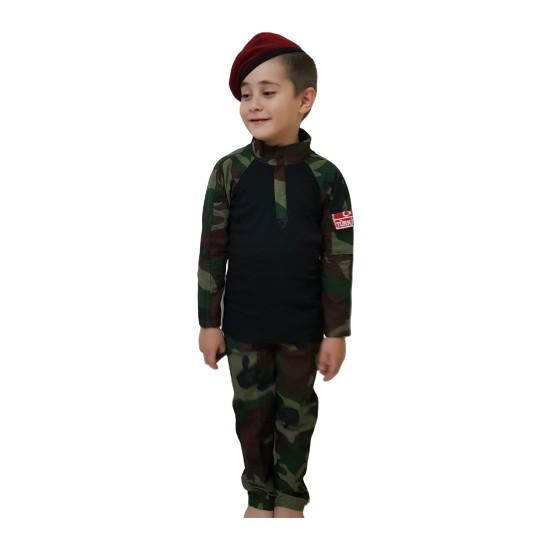 Erteks & Adk Koyu Renk Kombatlı Çocuk Asker Kıyafeti 9-10 Yaş
