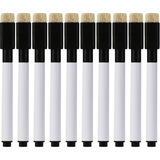 RBC Beyaz Tahta Kalemi Mini (Silgili+Mıknatıslı) 10'lu Set Siyah