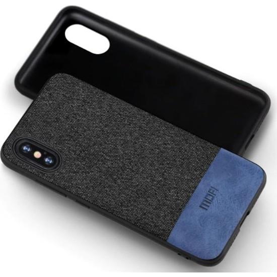 Mofi Apple iPhone XS Max Kumaş TPU Kılıf Mavi