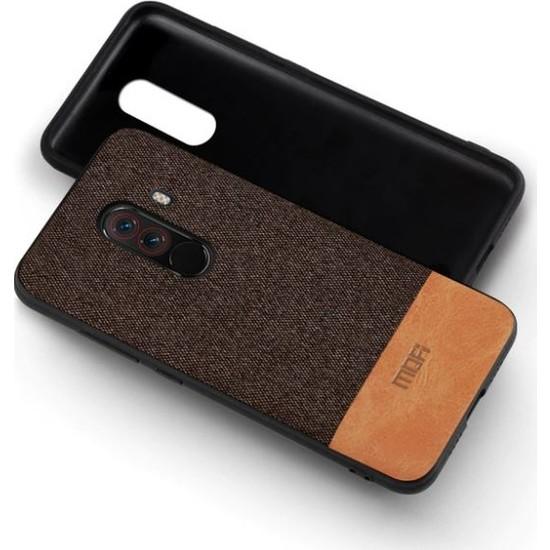 Mofi Xiaomi Pocofone F1 Kumaş TPU Kılıf Kahverengi