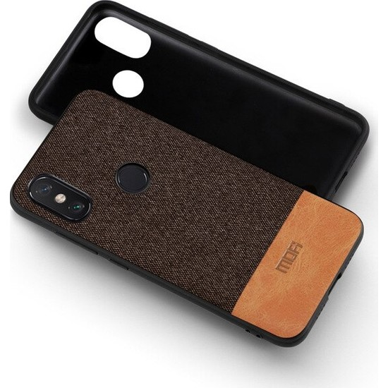 Mofi Xiaomi Redmi Note 6 Pro Kumaş TPU Kılıf Kahverengi