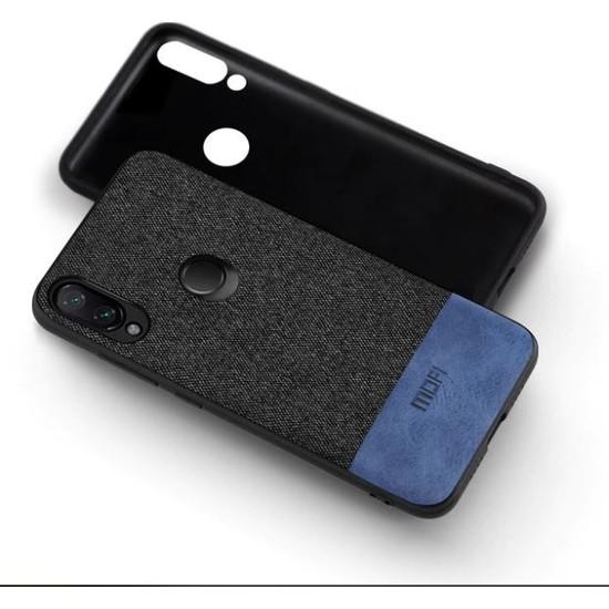 Mofi Xiaomi Redmi Note 7 Kumaş TPU Kılıf Mavi