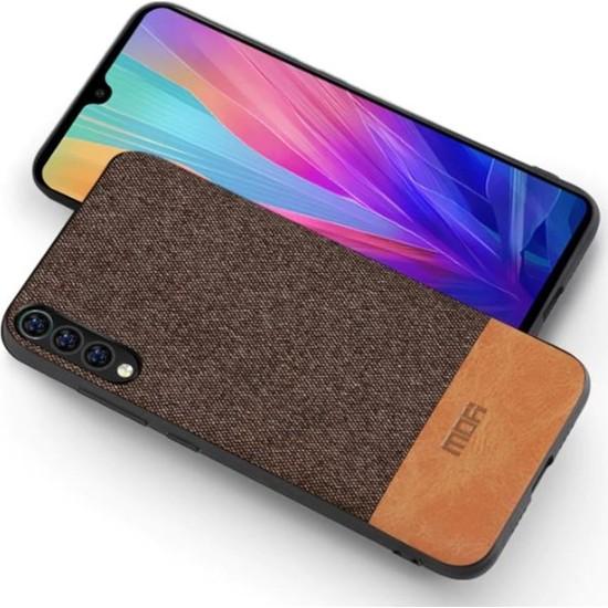 Mofi Xiaomi Mi 9 Kumaş TPU Kılıf Kahverengi
