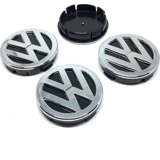 Oto Aksesuarcım Volkswagen Kromlu Geçme Jant Göbeği Siyah 4'lü 55 mm