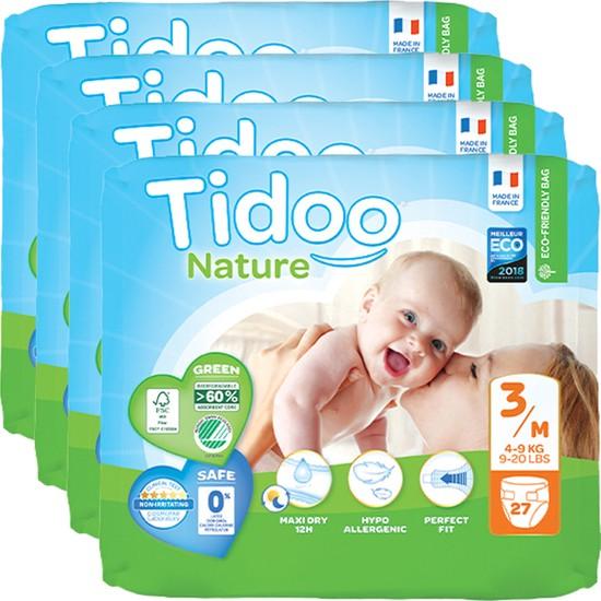 Tidoo Nature Bebek Bezi 3 Beden Numara 4-9 kg 27X4 108'li Ekolojik Antialerjik