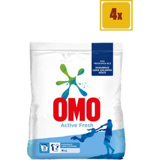 Omo Matik Active Fresh 4 kg Toz Çamaşır Deterjanı 4'lü Set