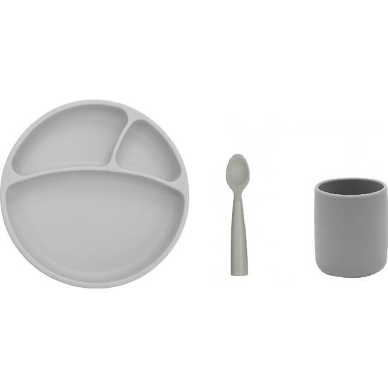 Oioi Silikon Yemek Seti Gri - Tabak + Kaşık + Bardak
