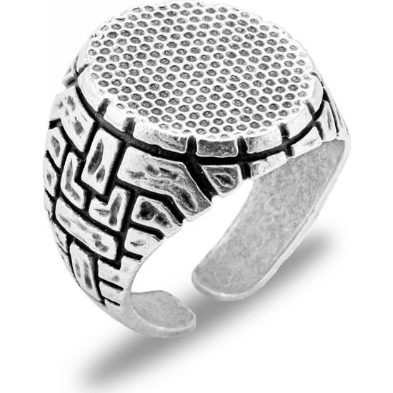 Apptakı Yeni Tasarım Mat Gümüş Erkek Yüzük - YÜZ0108