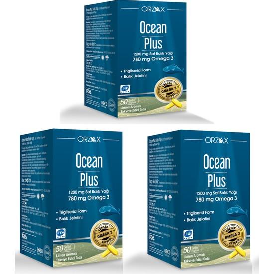 Ocean Plus 1200 Mg 50 Kapsül Balık Yağı 3 Adet