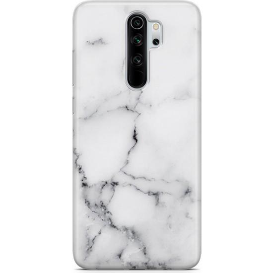 Melefoni Xiaomi Redmi Note 8 Pro Kılıf Marble Mermer Serisi Beyaz