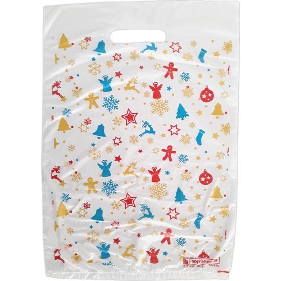 Hoşgör Plastik El Geçme Blok Poşet Eczane Poşeti Yılbaşı Beyaz 20X30 (5'li PAKET:500 )