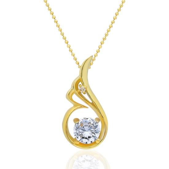Chavin Melek Kanadı 0.02 Crt. Pırlanta Taşlı Gümüş Kolye Sarı