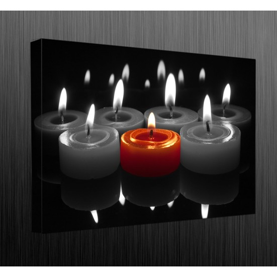 Duvar Tasarım DLC 1043 Candle Led Canvas Tablo - 70x50 cm