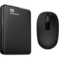 "WD Elements 2TB 2.5"" USB 3.0 Taşınabilir Disk WDBU6Y0020BBK-WESN + Microsoft Mobile 1850 Kablosuz Siyah Mouse 7MM-00002"