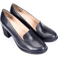 Gönderi® Hakiki Deri Yuvarlak Burun Kalın Orta Topuklu Kauçuk Taban Kadın Ayakkabı 24070