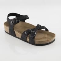 ART'iz Pergamon Deri Siyah Çift Şeritli Sandalet 37