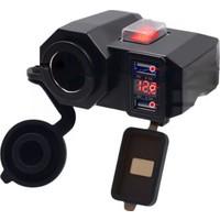 Knmaster Dijital Voltmetre Göstergeli Çakmaklık Çift Usb'li Motosiklet Şarj Soketi