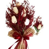 Islak Lale ve Cipsolu Gelin Buketi Damat Yaka Çiçeği