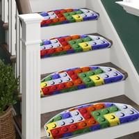 Stepmat LEGO Desenli Çocuk Kreş Için Merdiven Basamak Paspası Halısı