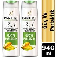 Pantene 3'ü 1 Arada Şampuan + Krem + Bakım Kürü Güç ve Parlaklık 470 ml x 2