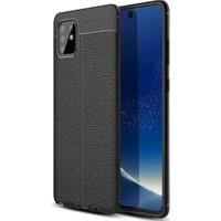 Coverzone Samsung Galaxy A91 Kılıf Niss Silikon Deri Görünümlü Niss Siyah