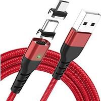 Marstec Type-C Mıknatıslı Şarj Kablosu 2m Kırmızı