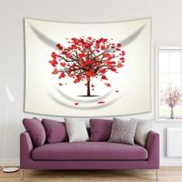 Henge Kırmızı Kalpli AğaçAşkRomantik Dekoratif Duvar Örtüsü