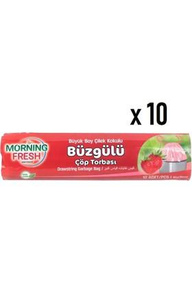 Morning Fresh Çilek Kokulu Büyük Boy Büzgülü Çöp Poşeti 10'lu x 10 Rulo