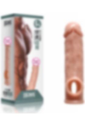 Xise 16 cm Ten Rengi Penis Kılıfı Uzatmalı Prezervatif + 10 ml Lub