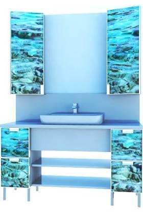 Artila Işıklı Kapaklı Deniz Dibi Seramik Çanak Lavabolu Tezgah ve Ar Panolu Esnek Ölçülü Banyo Dolabı