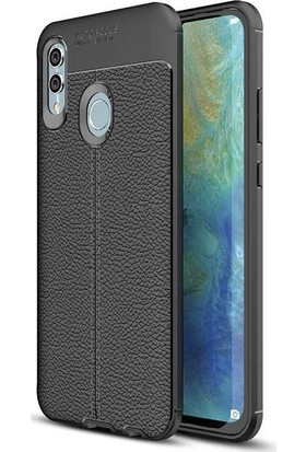 Teleplus Samsung Galaxy M10s Deri Dokulu Silikon Kılıf + Nano Ekran Koruyucu Siyah