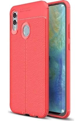 Teleplus Samsung Galaxy M10s Deri Dokulu Silikon Kılıf + Nano Ekran Koruyucu Kırmızı