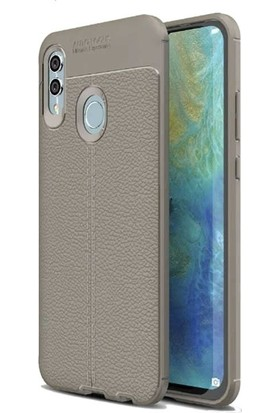Teleplus Samsung Galaxy M10s Deri Dokulu Silikon Kılıf + Tam Kapatan Cam Gri