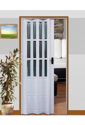 Erikmann Katlanır Akordiyon Pvc Kapı Camlı Tek Açılım Beyaz 87 x 207 cm