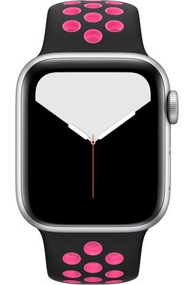 Case 4U Apple Watch Seri 6/SE/5/4 Silikon Delikli Spor Kordon 44mm 42mm Uyumlu - Siyah Pembe