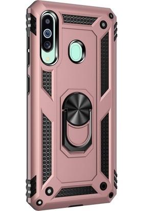 Case Street Samsung Galaxy M40 Kılıf Çift Katmanlı Tank Yüzüklü Mıknatıslı Vega Kapak + Nano Glass Bronz
