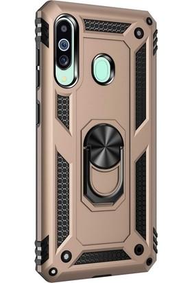 Case Street Samsung Galaxy M40 Kılıf Çift Katmanlı Tank Yüzüklü Mıknatıslı Vega Kapak + Nano Glass Gold
