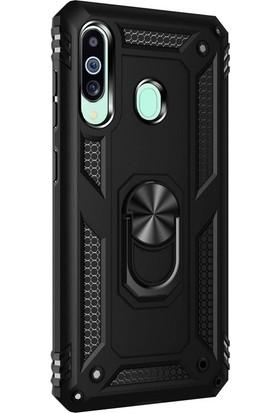Case Street Samsung Galaxy M40 Kılıf Çift Katmanlı Tank Yüzüklü Mıknatıslı Vega Kapak + Nano Glass Siyah