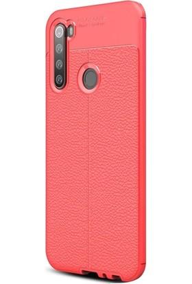 Case Street Xiaomi Redmi Note 8T Kılıf Niss Silikon Deri Görünümlü Kırmızı
