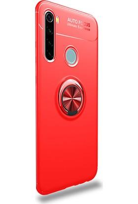 Case Street Xiaomi Redmi Note 8T Kılıf Ravel Yüzüklü Mıknatıslı + Nano Glass Kırmızı