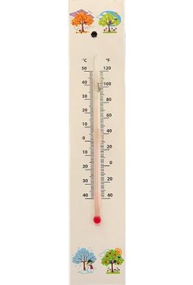 Moniev Oda Termometresi Duvara Asılan Ahşap Oda Derecesi Isı Ölçer 2'li