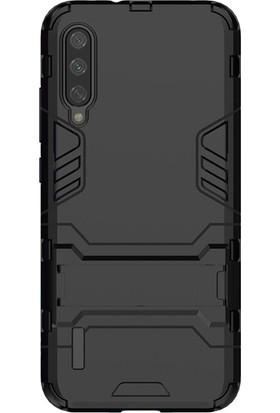 Microcase Xiaomi Mi 9 Lite Alfa Serisi Armor Standlı Perfect Koruma Kılıf - Siyah
